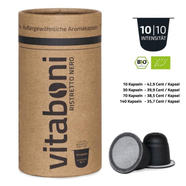 BIO-Ristretto Nero - 30 abbaubare Kaffeekapseln ohne Alu von Vitaboni