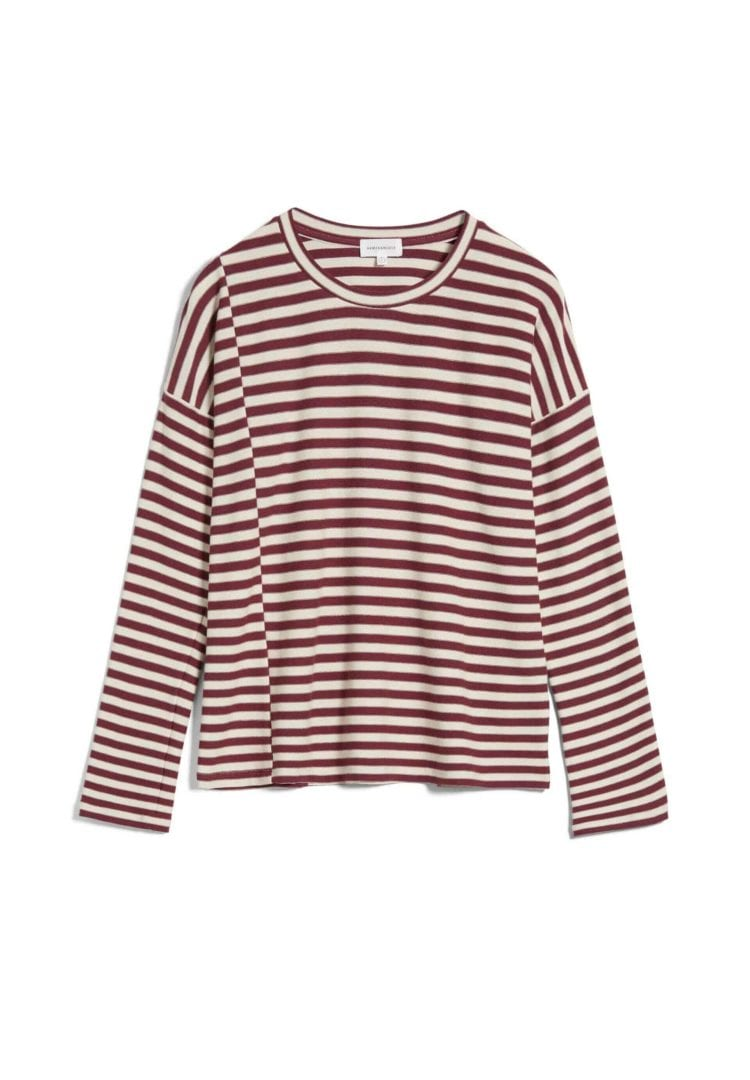 Longsleeve Palinaa Knitted Stripe In Kitt-ruby Red von ArmedAngels