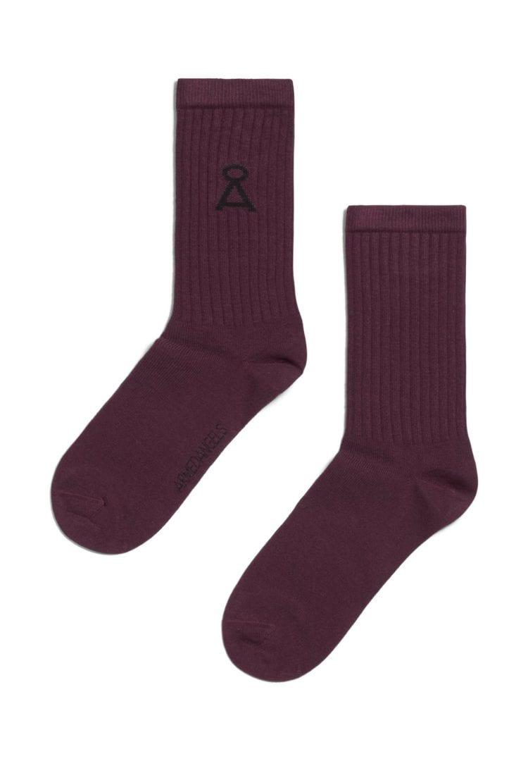 Socke Saamu In Dark Aubergine von ArmedAngels