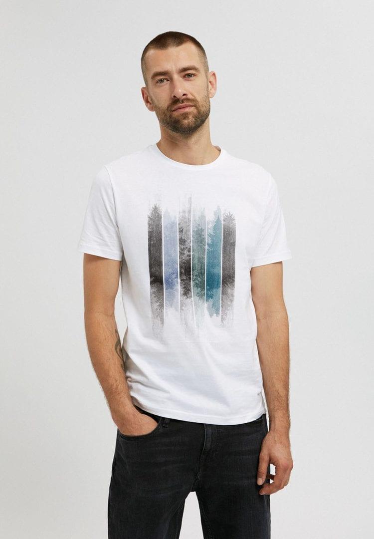 T-shirt Jaames Patchwork Trees In White von ArmedAngels