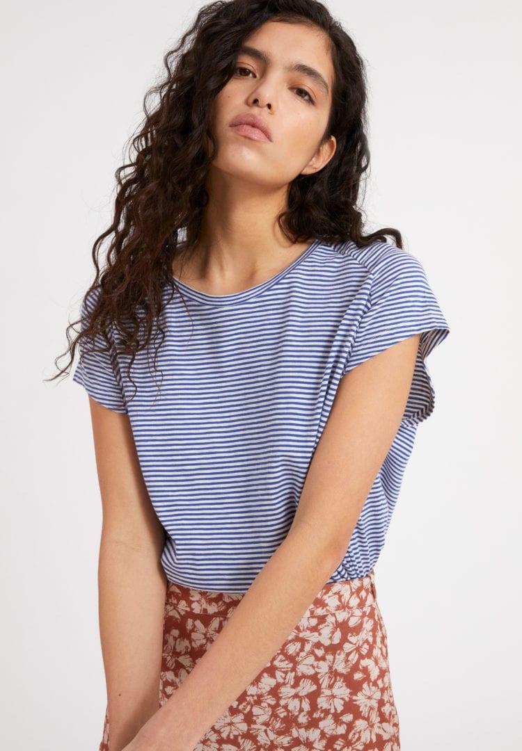 T-shirt Ofeliaa Pretty Stripes In Deep Ultramarine-oatmilk von ArmedAngels