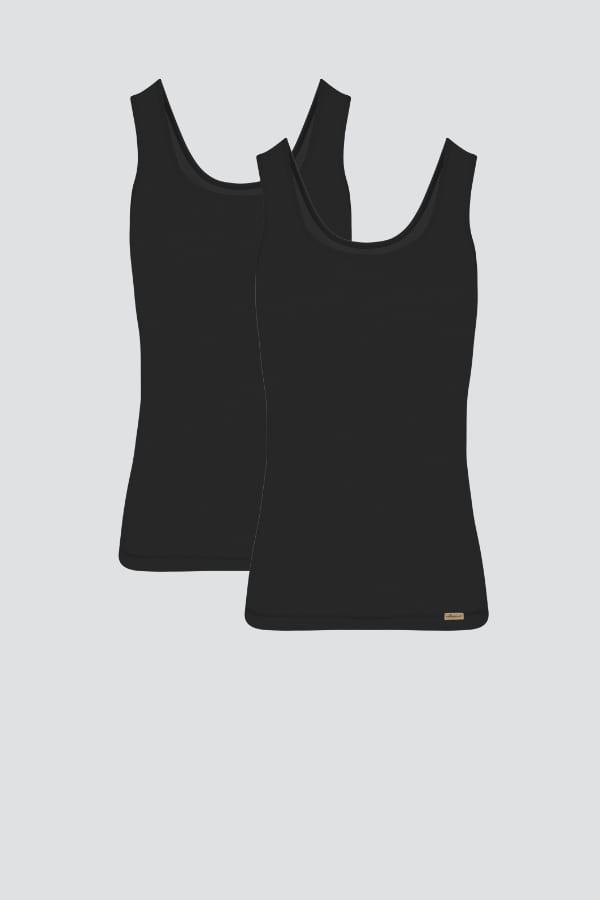Unterhemd Achselträger 2er Pack - Schwarz von Comazo