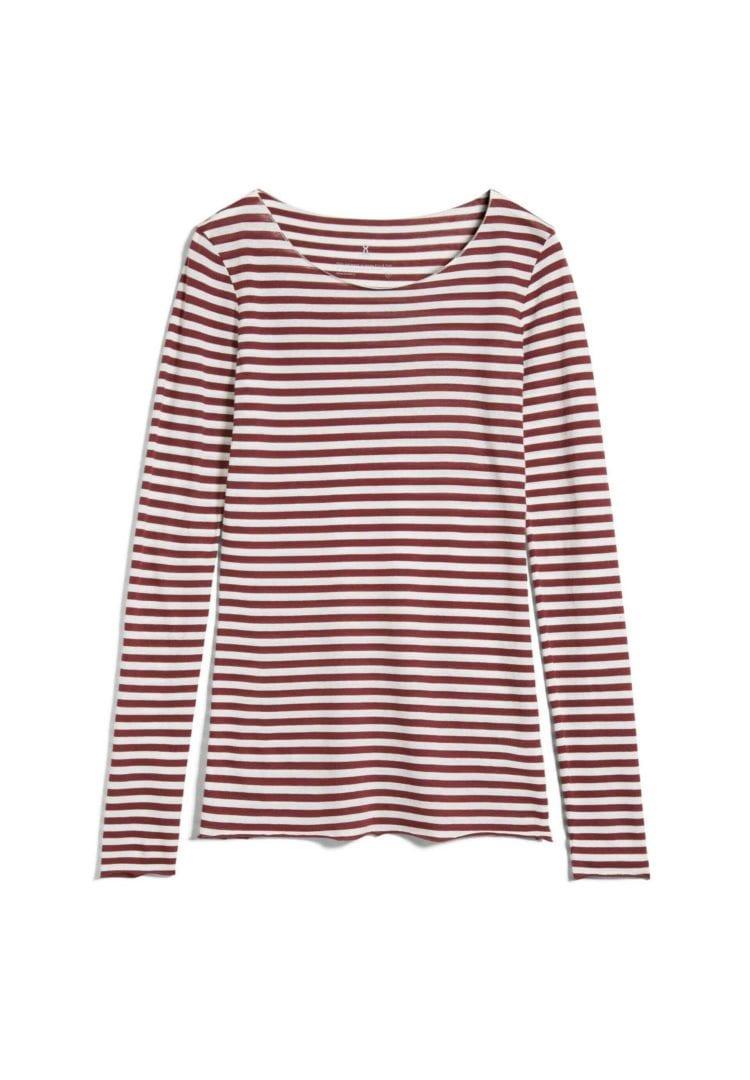 Longsleeve Evvaa Stripes In Ruby Red-oatmilk von ArmedAngels