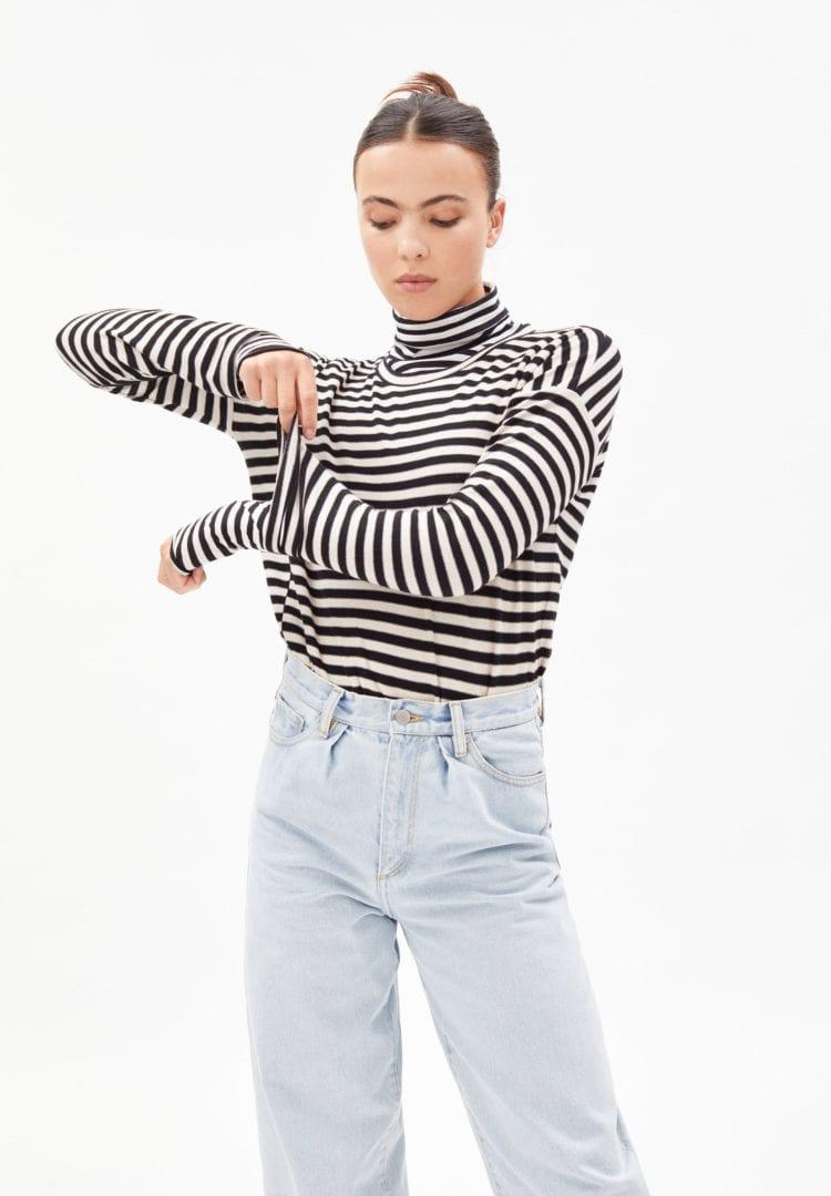 Longsleeve Palinaa Knitted Stripe In Kitt-black von ArmedAngels