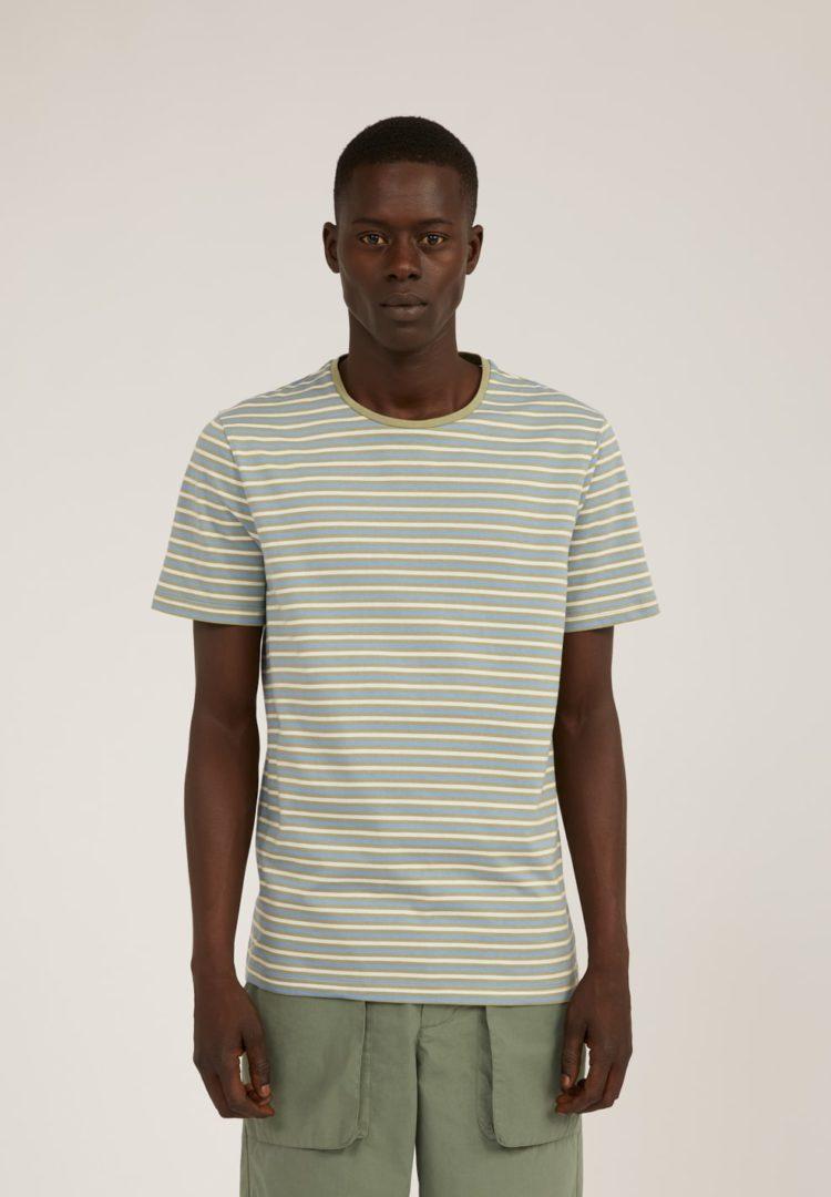 T-shirt Jaago Stripes In Dark Cornflower-khaki Dust-off White von ArmedAngels