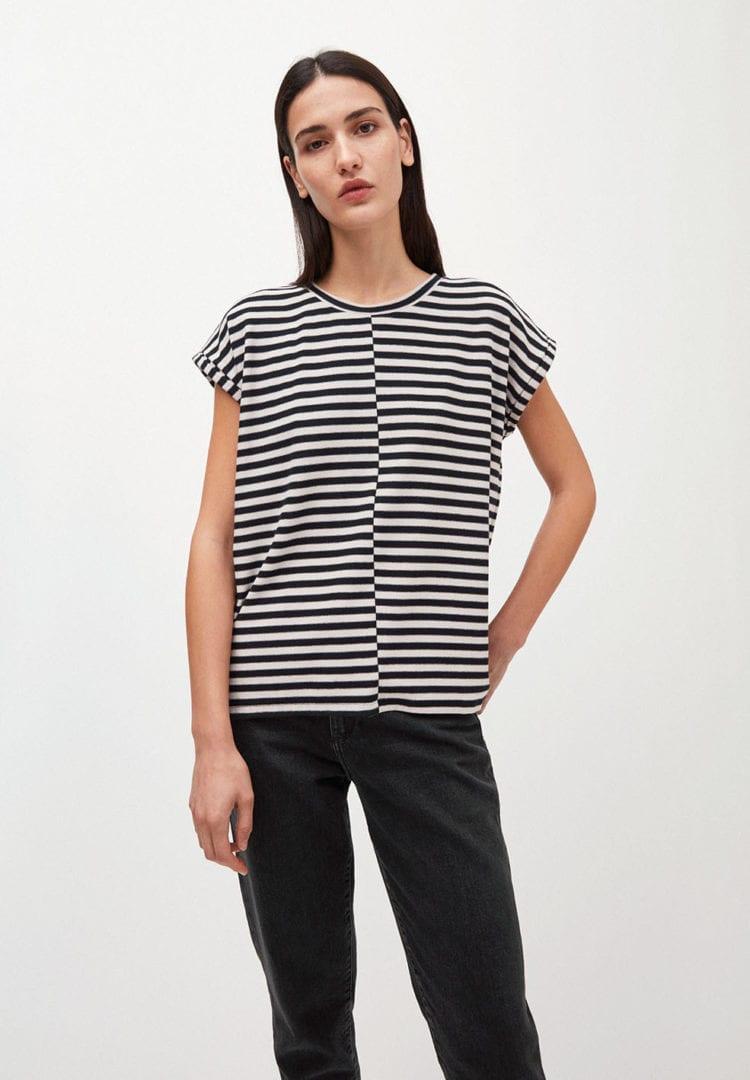 T-shirt Jaarin Knitted Stripe In Kitt-black von ArmedAngels