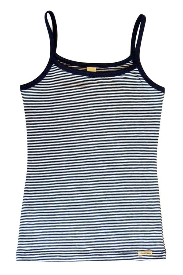 Mädchen Unterhemd - Marine-geringelt von Comazo