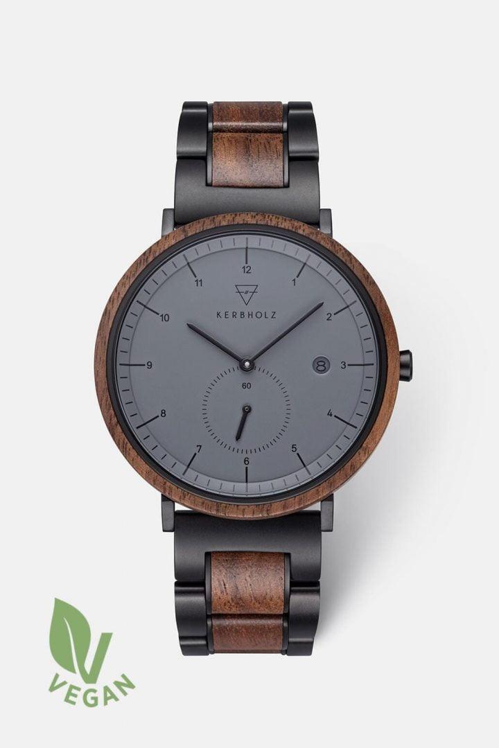 Uhr Anton Black Steel - Walnut Midnight von Kerbholz