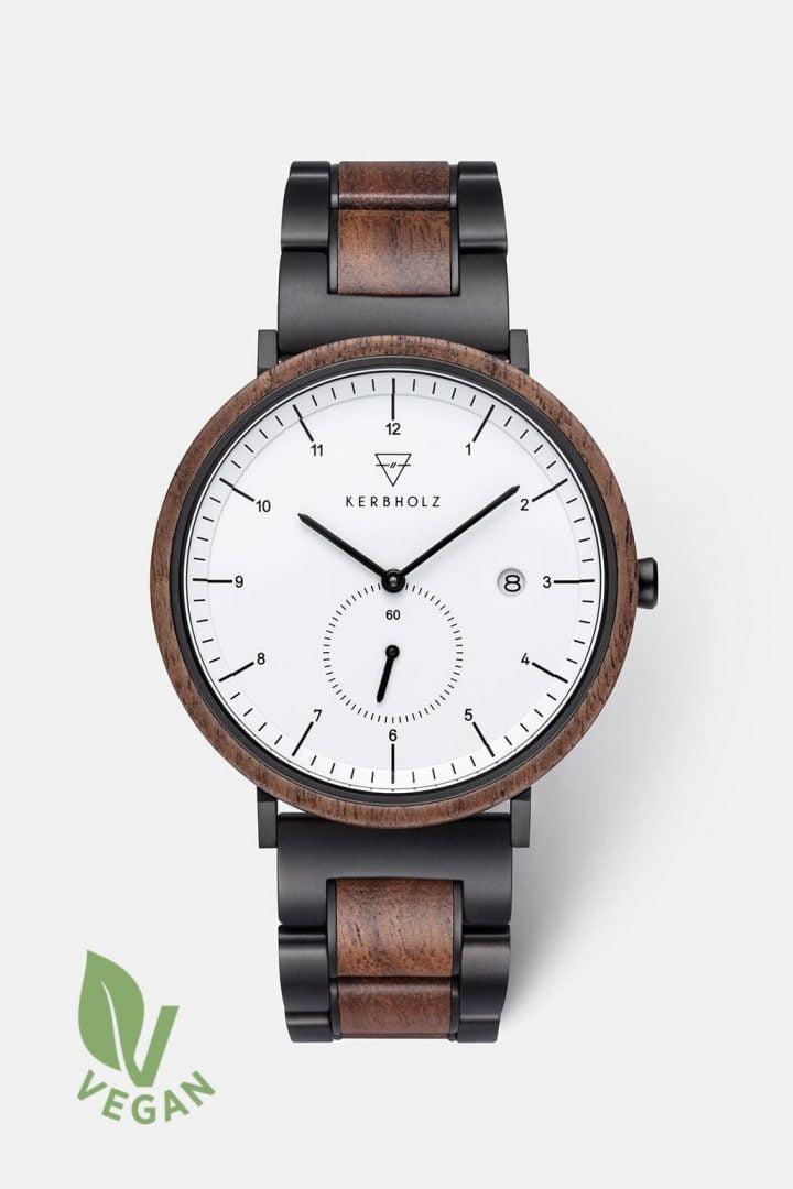Uhr Anton Black Steel - Walnut White von Kerbholz