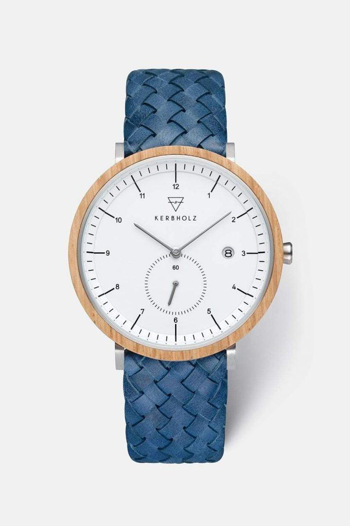 Uhr Anton - Oak Woven Marine von Kerbholz