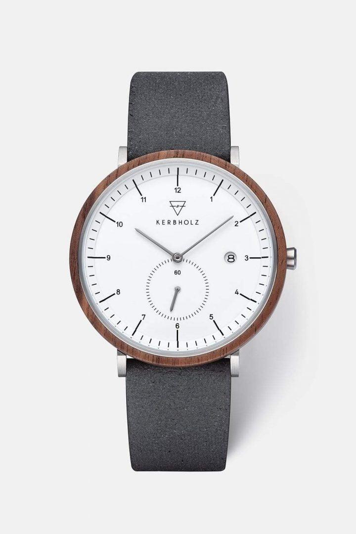 Uhr Anton Recycled Leather - Walnut Black von Kerbholz