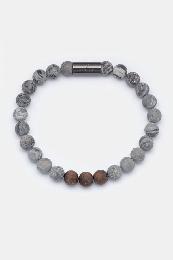 Schmuck Beaded Bracelet - Walnut Grey Stone von Kerbholz