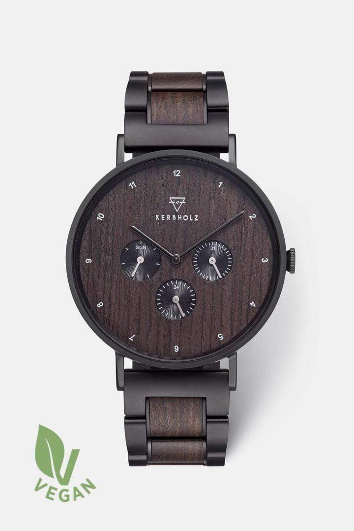 Uhr Caspar Black Steel - Heritage Sandalwood von Kerbholz