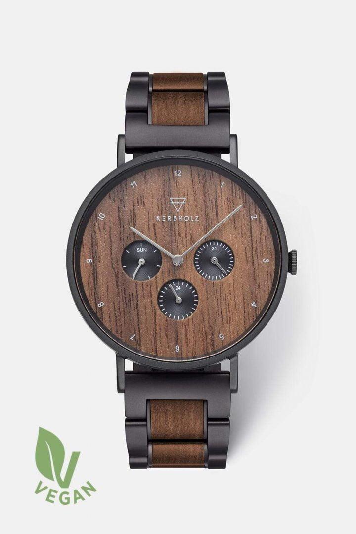Uhr Caspar Black Steel - Walnut von Kerbholz