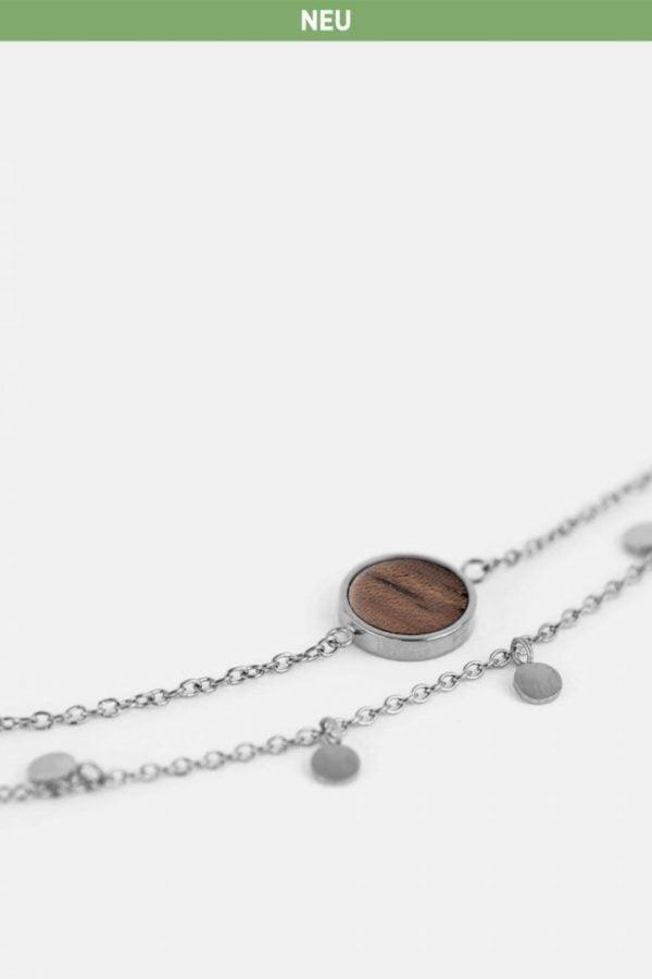Schmuck Circle Double Bracelet - Walnut Silver von Kerbholz