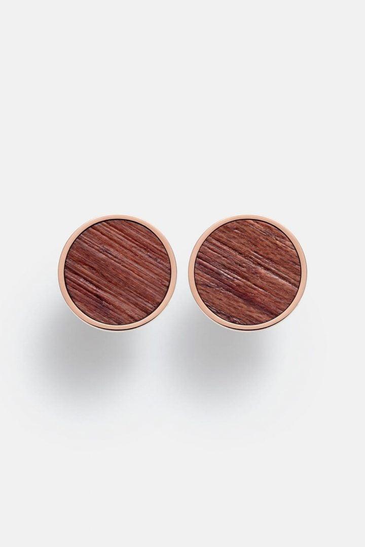 Schmuck Circle Earring - Rosewood Shiny Rosegold von Kerbholz