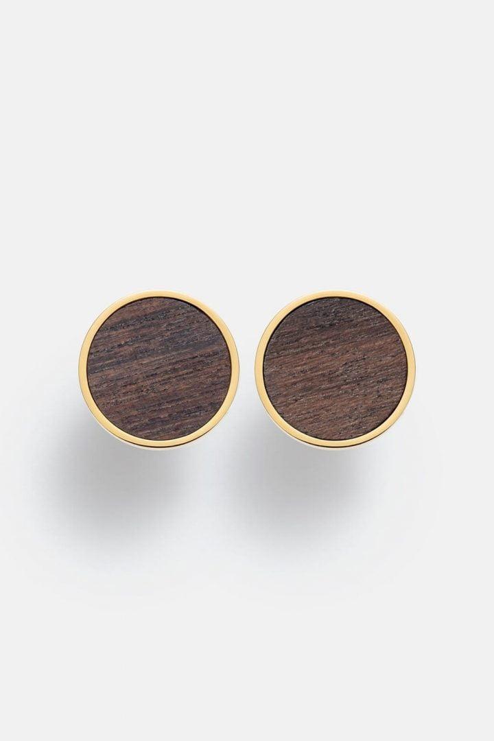 Schmuck Circle Earring - Sandalwood Shiny Gold von Kerbholz
