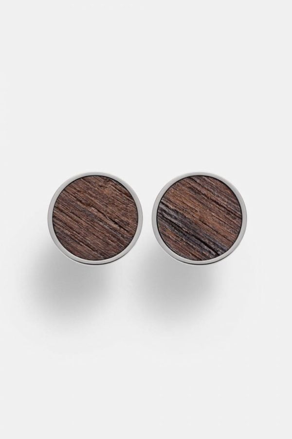 Schmuck Circle Earring - Walnut Shiny Silver von Kerbholz