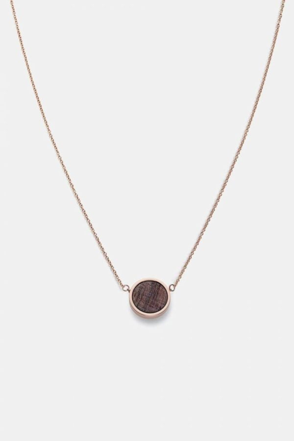 Schmuck Circle Necklace - Rosewood Shiny Rosegold von Kerbholz