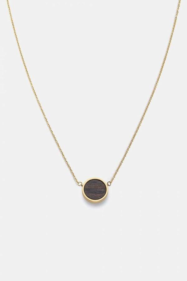 Schmuck Circle Necklace - Sandalwood Shiny Gold von Kerbholz