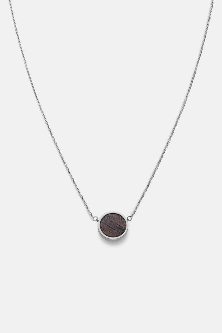 Schmuck Circle Necklace - Walnut Shiny Silver von Kerbholz