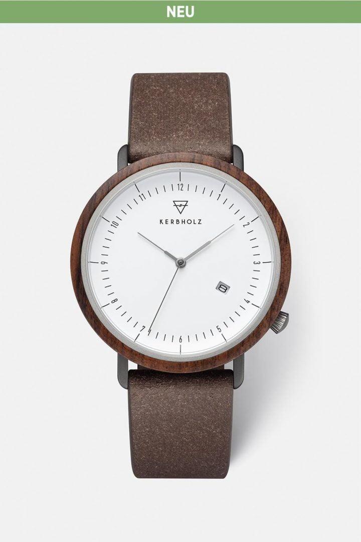 Uhr Clemens Recycled Leather - Walnut Coffe von Kerbholz