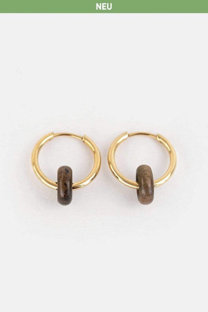 Schmuck Donut Earring - Walnut Gold von Kerbholz