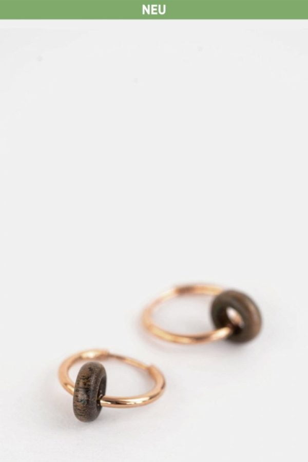 Schmuck Donut Earring - Walnut Rosegold von Kerbholz