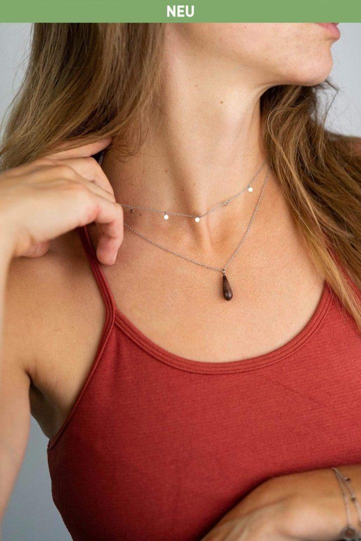 Schmuck Drop Double Necklace - Walnut Silver von Kerbholz