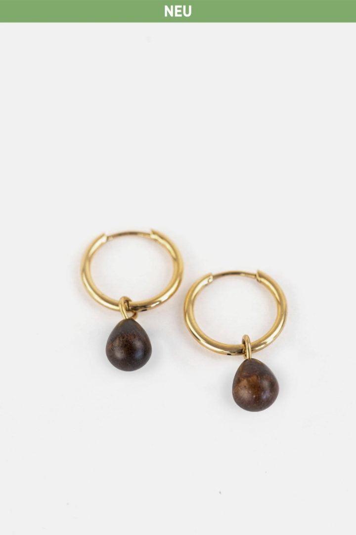 Schmuck Drop Earring - Walnut Gold von Kerbholz