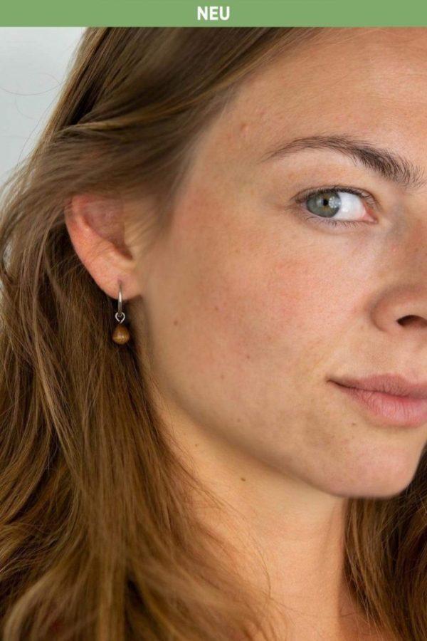 Schmuck Drop Earring - Walnut Silver von Kerbholz
