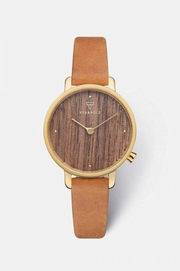 Uhr Emma - Walnut Mustard von Kerbholz