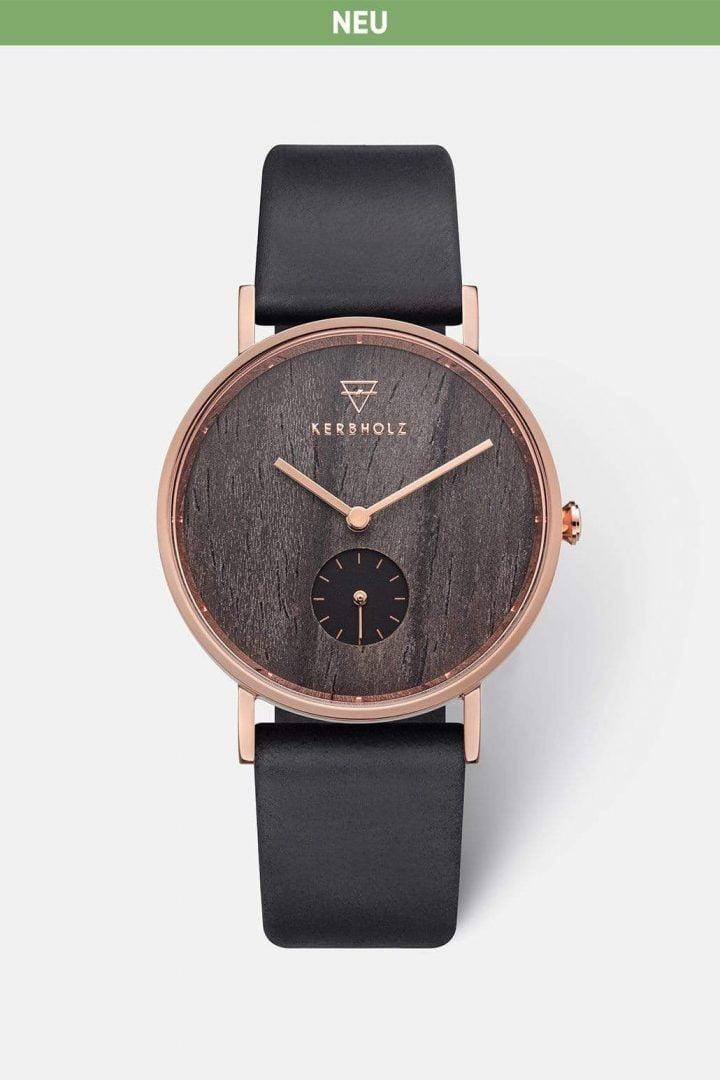 Uhr Frida - Darkwood Rosegold Black von Kerbholz