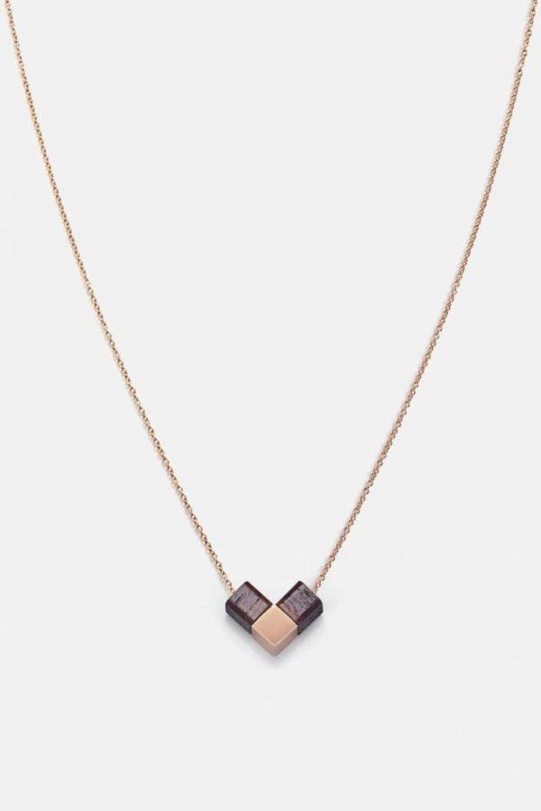 Schmuck Heart Cube Necklace - Rosewood Shiny Rosegold von Kerbholz