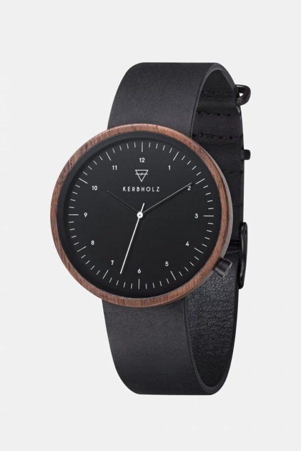 Uhr Heinrich - Walnut Midnight Black Colorful von Kerbholz