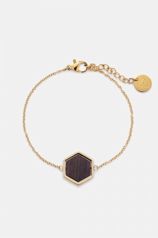Schmuck Hexa Bracelet - Sandalwood Shiny Gold von Kerbholz