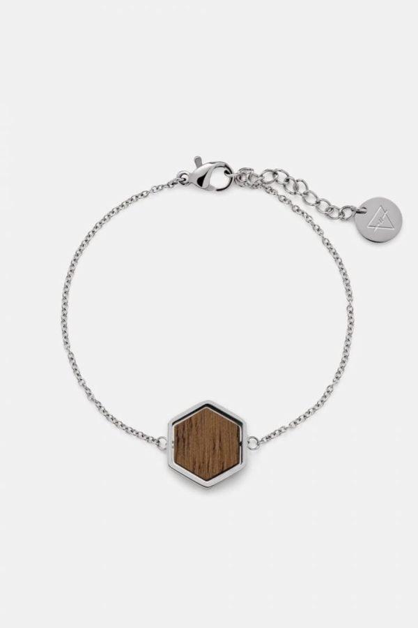 Schmuck Hexa Bracelet - Walnut Shiny Silver von Kerbholz