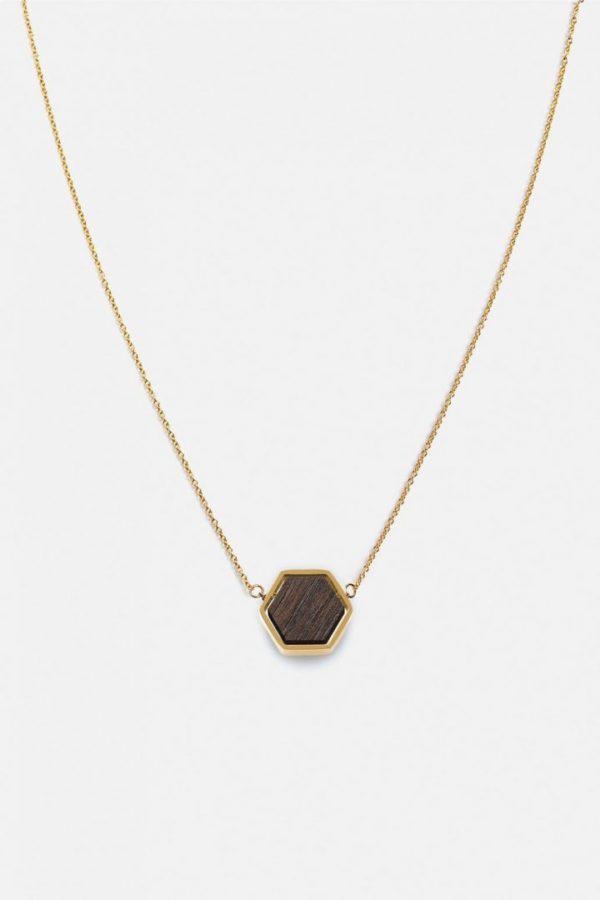 Schmuck Hexa Necklace - Sandalwood Shiny Gold von Kerbholz