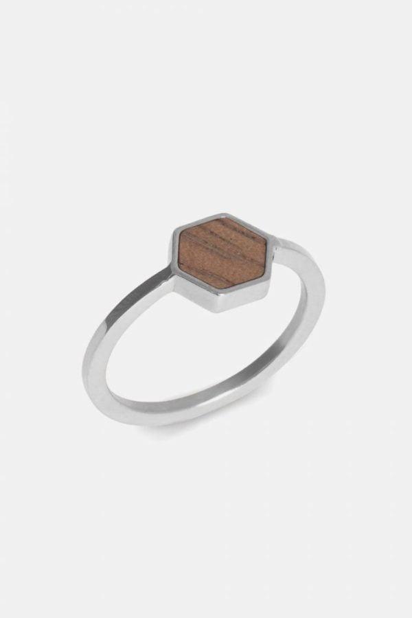 Schmuck Hexa Ring - Silver von Kerbholz