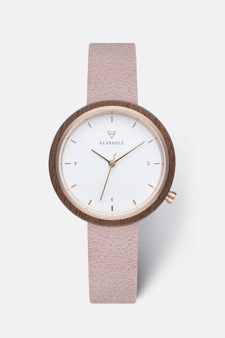 Uhr Hilde - Walnut Rose von Kerbholz