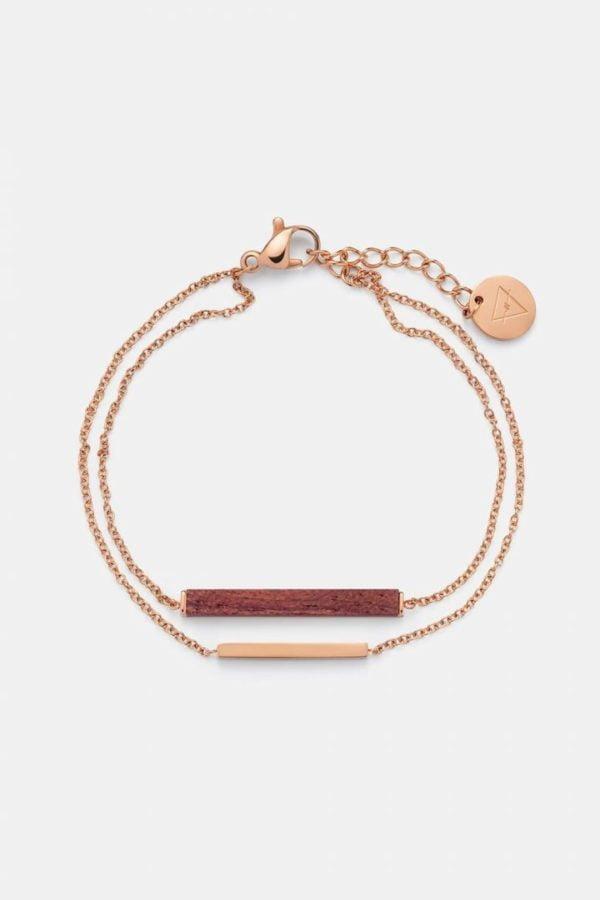 Schmuck Rectangle Bracelet - Rosewood Shiny Rosegold von Kerbholz
