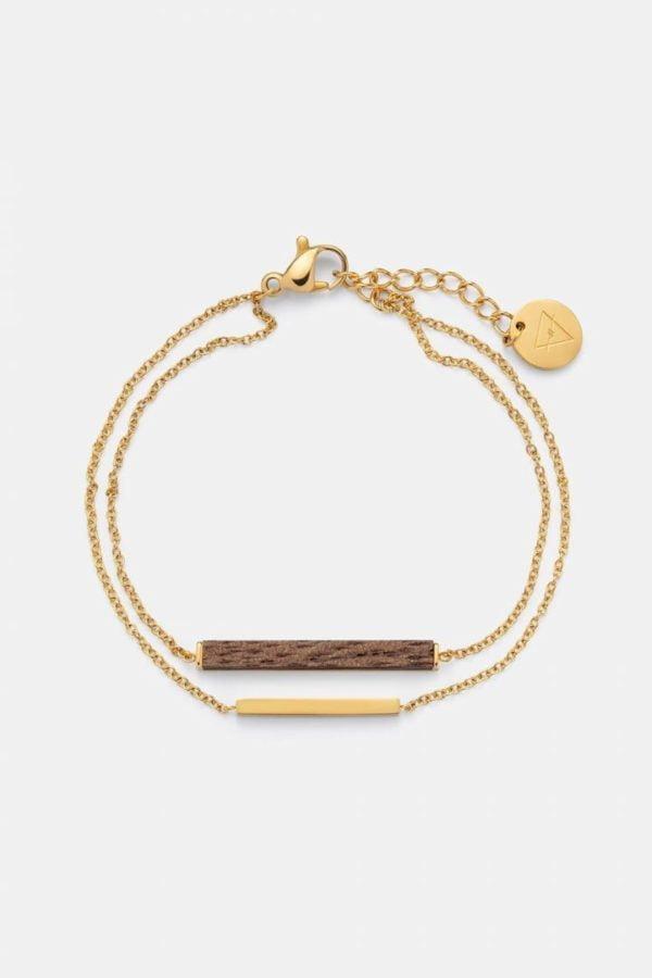 Schmuck Rectangle Bracelet - Walnut Shiny Gold von Kerbholz