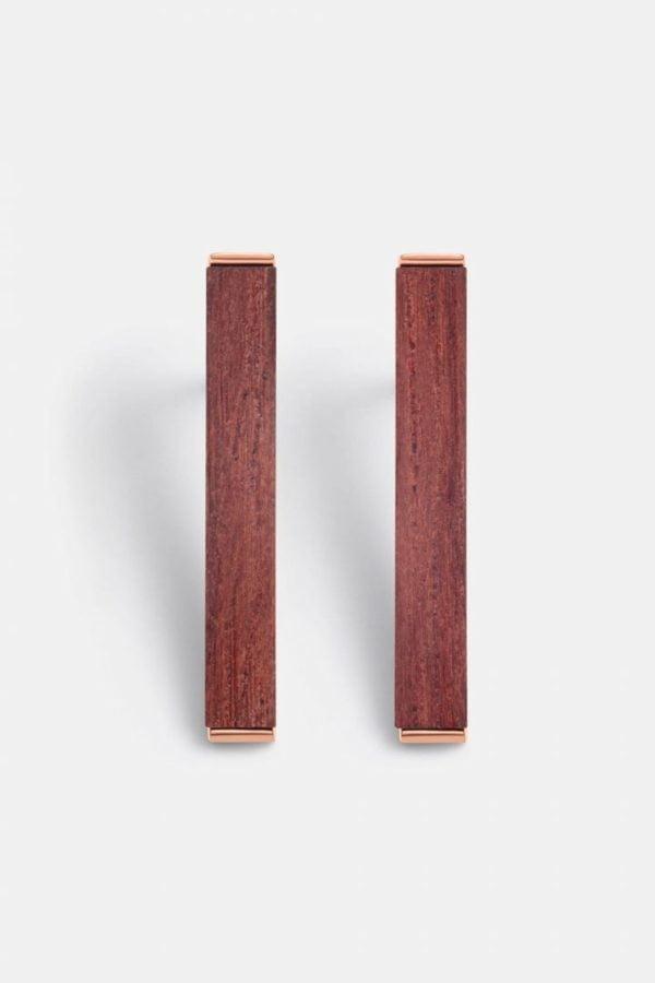 Schmuck Rectangle Earring - Rosewood Shiny Rosegold von Kerbholz
