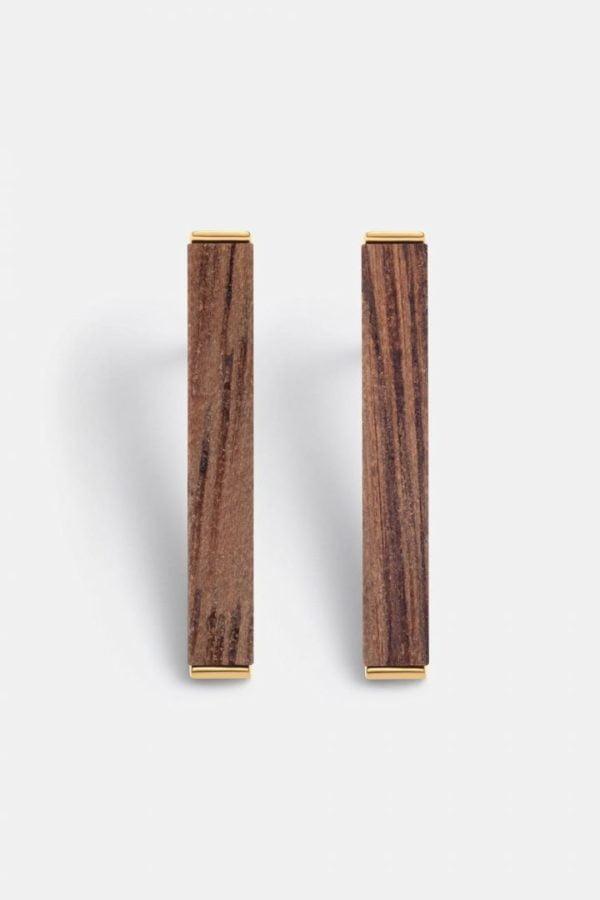 Schmuck Rectangle Earring - Walnut Shiny Gold von Kerbholz