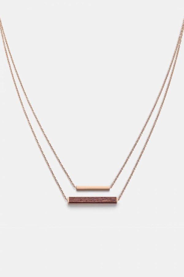 Schmuck Rectangle Necklace - Rosewood Shiny Rosegold von Kerbholz