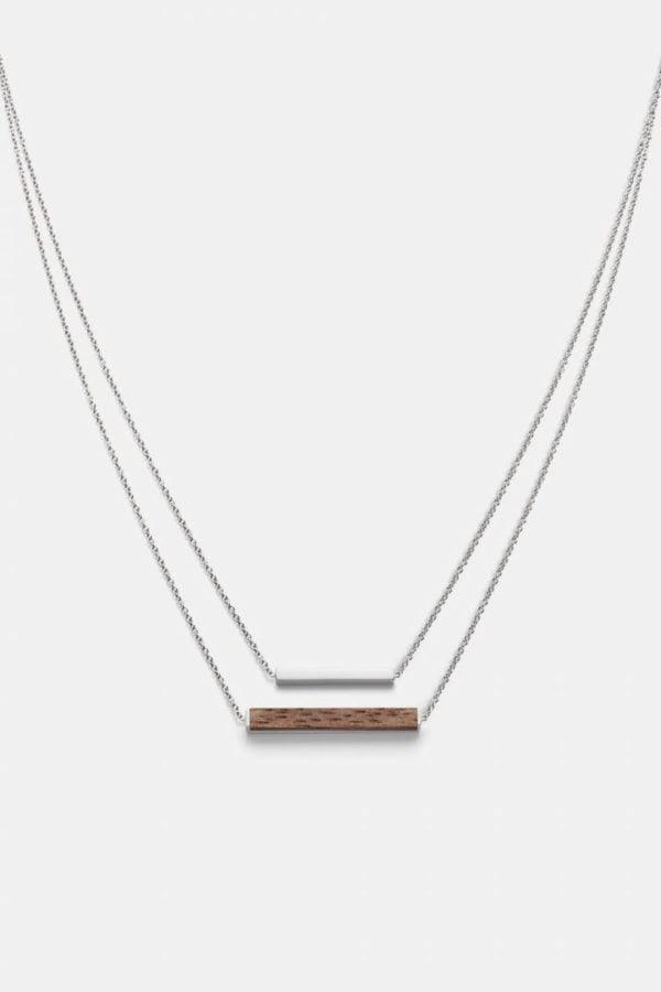 Schmuck Rectangle Necklace - Walnut Shiny Silver von Kerbholz
