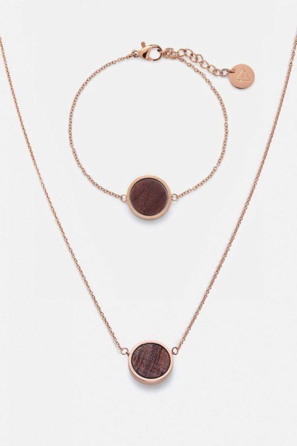 Schmuck Schmuckset Circle Halskette Armband - Rosenholz Rosegold von Kerbholz