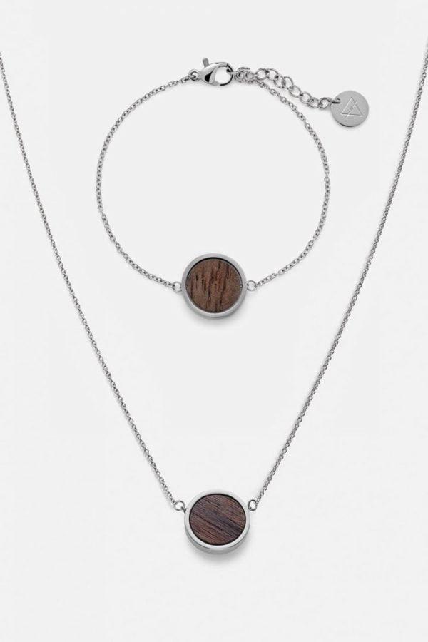 Schmuck Schmuckset Circle Halskette Armband - Walnuss Silber von Kerbholz
