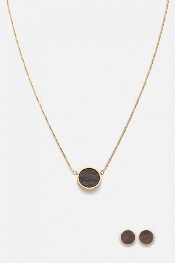Schmuck Schmuckset Circle Halskette Ohrring - Sandelholz Gold von Kerbholz