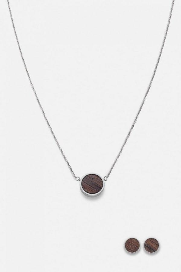 Schmuck Schmuckset Circle Halskette Ohrring - Walnuss Silber von Kerbholz